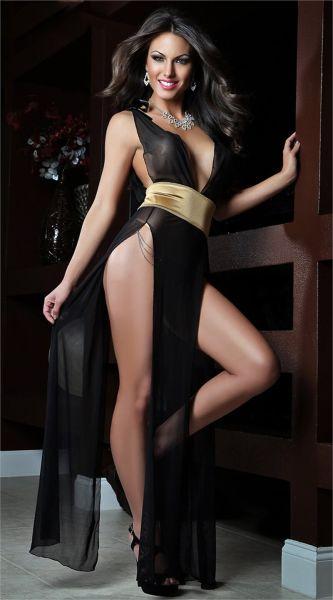 - Arkası Açık Uzun Siyah Tül Gecelik Modeli