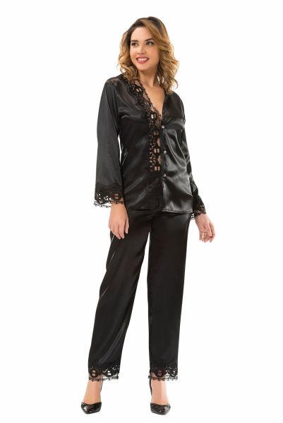 - Siyah Saten Pijama Takımı