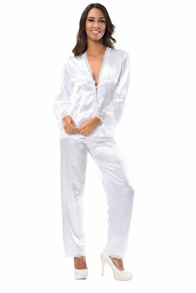 - Beyaz Saten Pijama Takımı