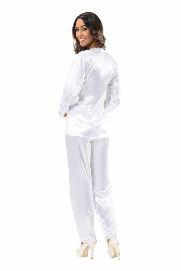 Beyaz Saten Pijama Takımı