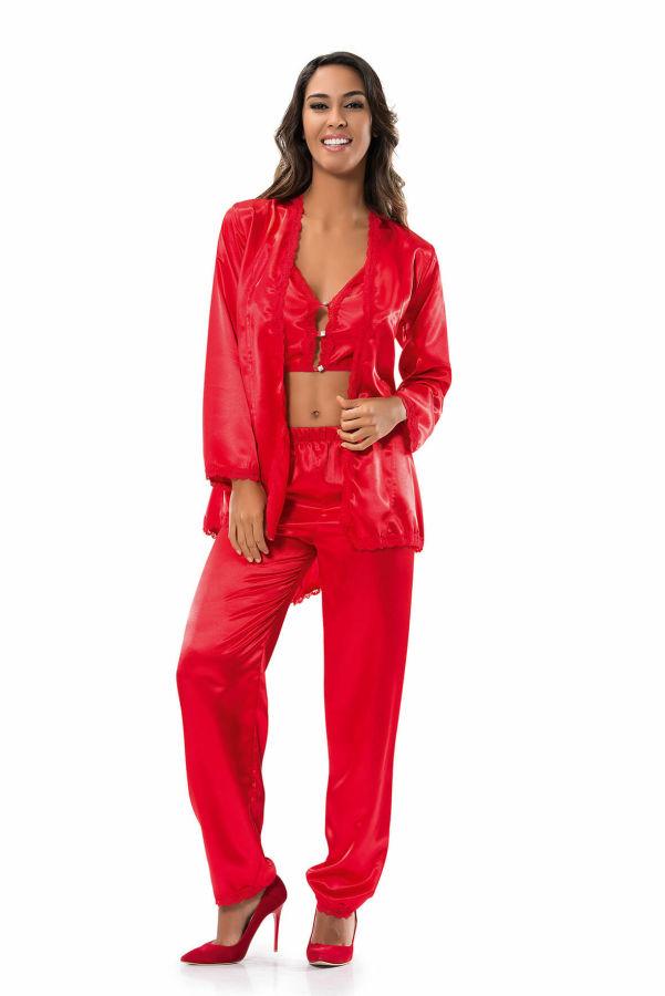 Kırmızı Saten Pijama Takımı Denizgülü