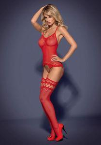 Kırmızı Askılı Vücut Çorabı - Thumbnail