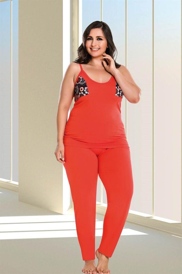 Kırmızı Desenli Büyük Beden Dörtlü Pijama Takımı