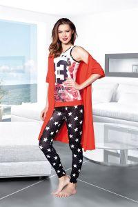 Kırmızı Dörtlü Pijama Takımı - Thumbnail