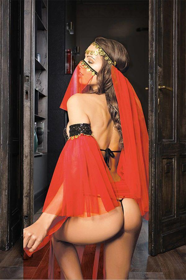 Kırmızı Peçeli Seksi Dansöz Kostümü