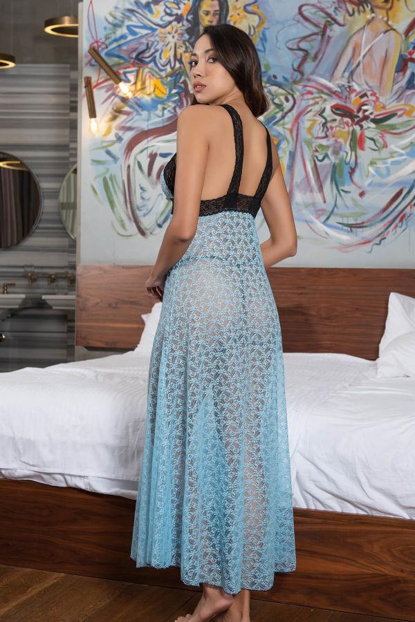 Mavi Dantel Uzun Gecelik Modeli