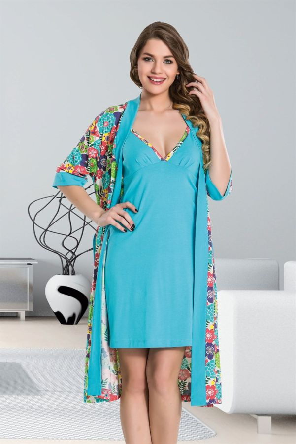 Mavi Dörtlü Pijama Takımı