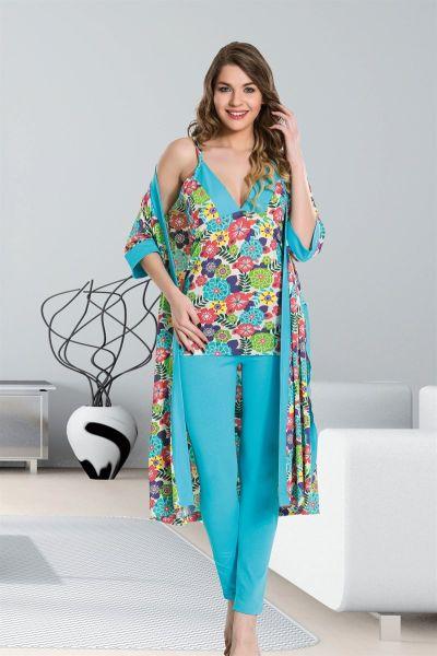 - Mavi Dörtlü Pijama Takımı