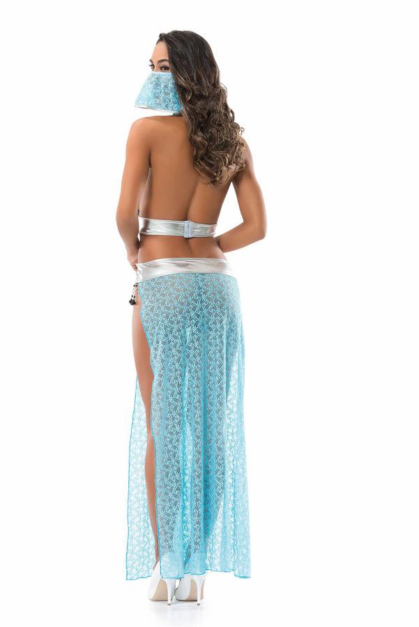 Mavi Peçeli Dansöz Fantazi Kostüm Modeli Denizgülü