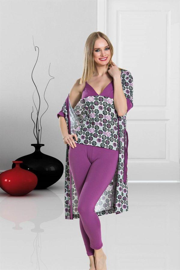 Mor Gül Desenli Dörtlü Pijama Takımı