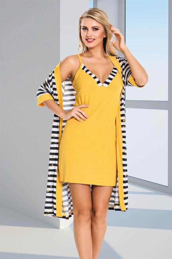 Sarı Çizgi Desenli Dörtlü Pijama Takımı