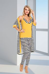 Sarı Çizgi Desenli Dörtlü Pijama Takımı - Thumbnail
