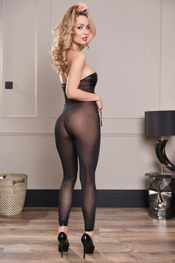 Siyah Deri Detaylı Vücut Çorabı