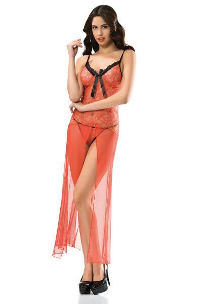 - Turuncu Uzun Fantazi Gecelik Modelleri